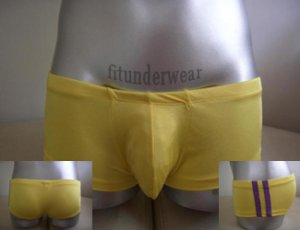 New Men's Sexy Lingerie Strips Boxer Underwear Yellow Lowcut #BX36