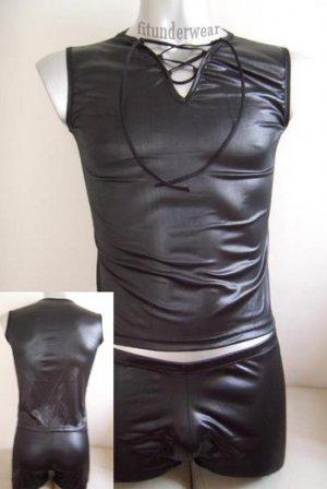 New Men's Sexy Stretchy Boxer Underwear Bodysuit Black PVC Lingerie #BD42