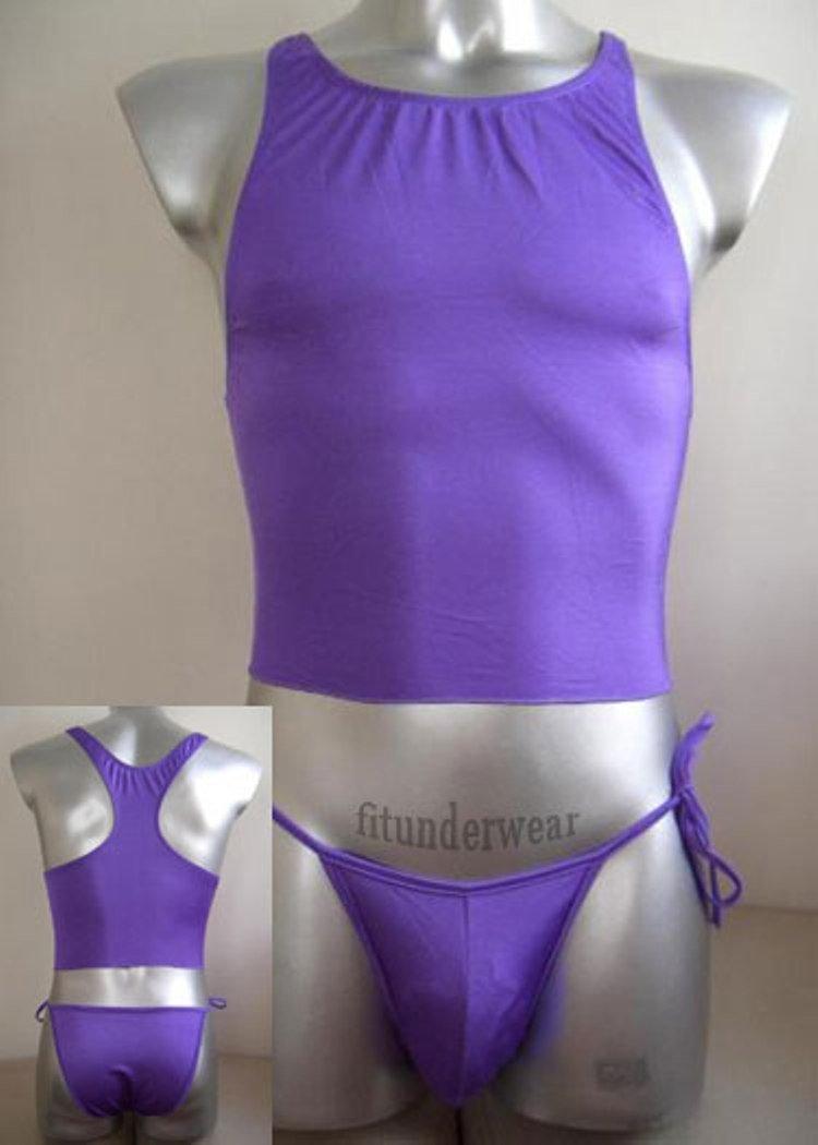 New Men's Sexy Stretch Briefs Bodysuit Purple 2pcs #BD39