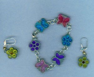 Butterfly and Flower Charm Bracelet Set