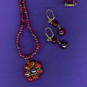 Red Wrapped Pendant Set