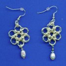 Japanese Flower Chain Maille and Pearl Earrings