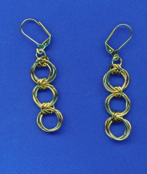 Three Gold Ring Chain Maille Earrings