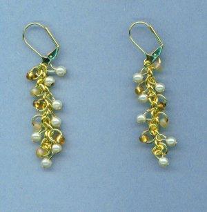 Tiny Pearl and Seed Bead Dangle Earrings