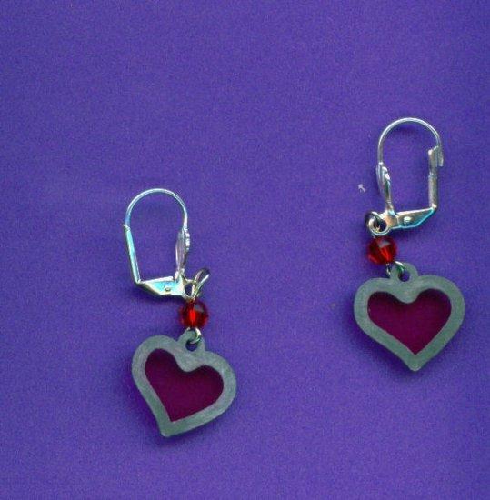 Pewter Stain-glass Heart Earrings