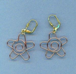 Copper Flower Wire Earrings