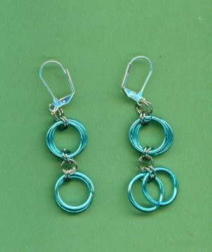 Double Ring Turquoise Earrings