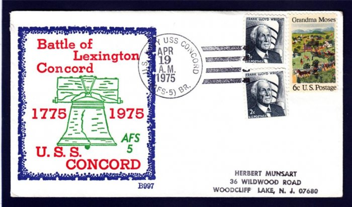 Stores Ship USS CONCORD AFS-5 BECK #B997 Naval Cover