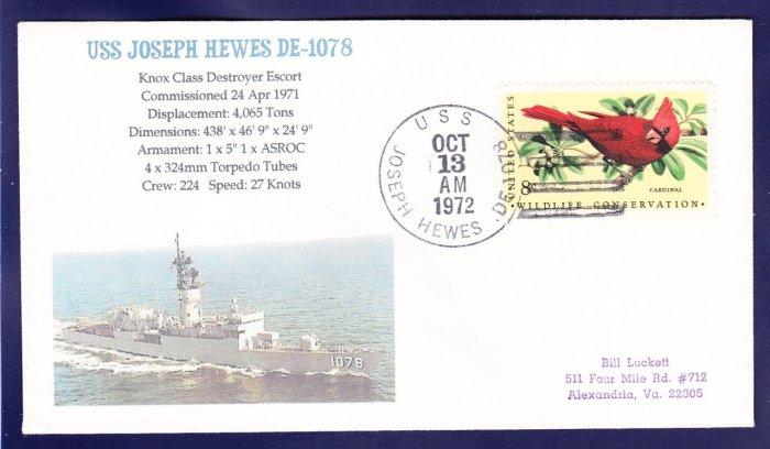 Destroyer Escort USS JOSEPH HEWES DE-1078 MHcachets Naval Cover ONLY 1 MADE