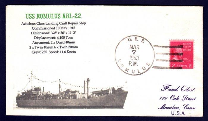 USS ROMULUS ARL-22 MHcachets Naval Cover ONLY 1 MADE
