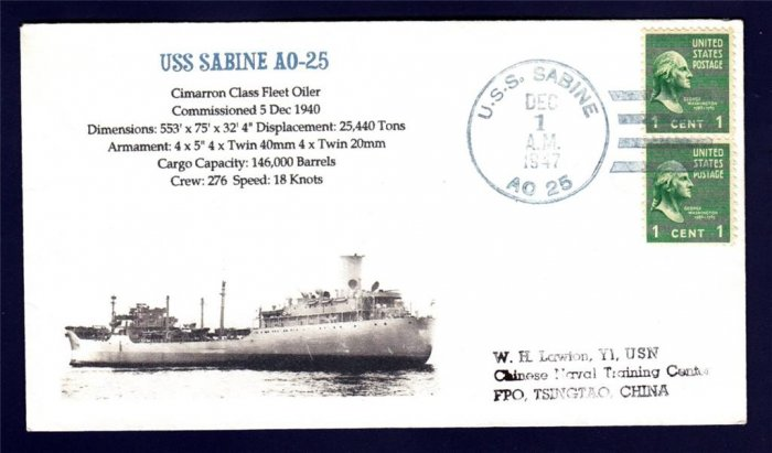 Oiler USS SABINE AO-25 1947 MHcachets Naval Cover ONLY 1 MADE