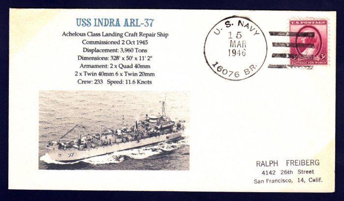 USS INDRA ARL-37 MHcachets Naval Cover ONLY 1 MADE