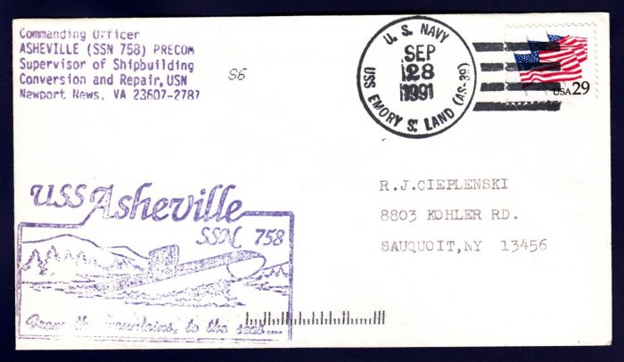 USS ASHEVILLE SSN-758 Commissioning Naval Submarine Cover