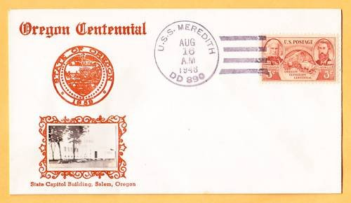 USS MEREDITH DD-890 Crosby Type Photo Cachet Naval Cover