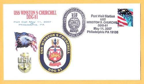 USS WINSTON CHURCHILL DDG-81 Philadelphia Naval Cover