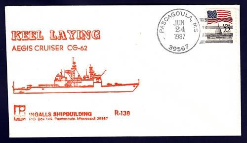 Cruiser USS CHANCELLORSVILLE CG-62 Keel Laying Naval Cover