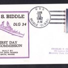 Guided Missile Destroyer USS BIDDLE DLG-34 Commissioninhg BECK #B694 Naval Cover