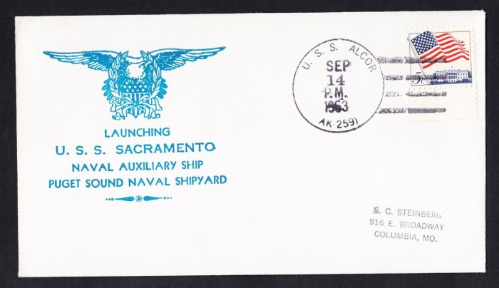 USS SACRAMENTO AOE-1 Launching Nicholson Naval Cover