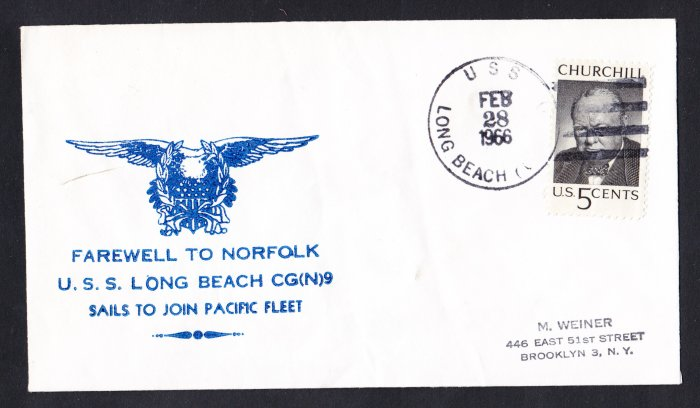 USS LONG BEACH CGN-9 Farewell Norfolk VA Nicholson Cachet Naval Cover