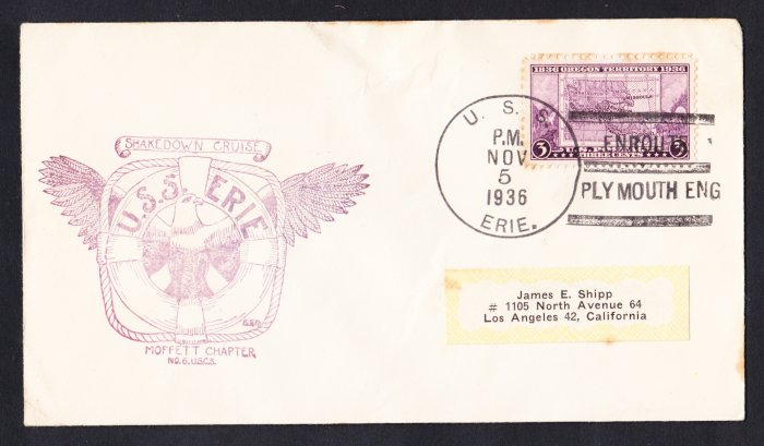 USS ERIE PG-50 Plymouth England 1936 Naval Cover