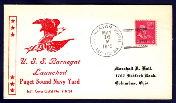 USS BARNEGAT AVP-10 Launching 1940 Naval Cover