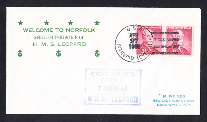 HMS LEOPARD F-14 Visit Norfolk VA Royal Navy Ship Cover