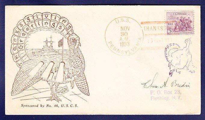 USS PENNSYLVANIA BB-38 Thanksgiving 1933 Naval Cover