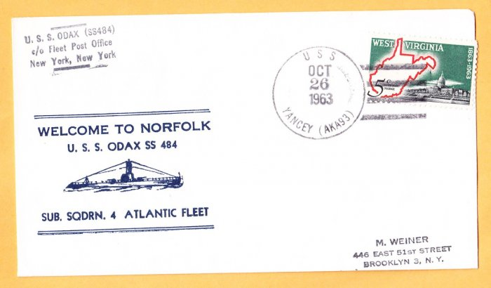 USS ODAX SS-484 Welcome To Norfolk Nicholson Naval Submarine Cover