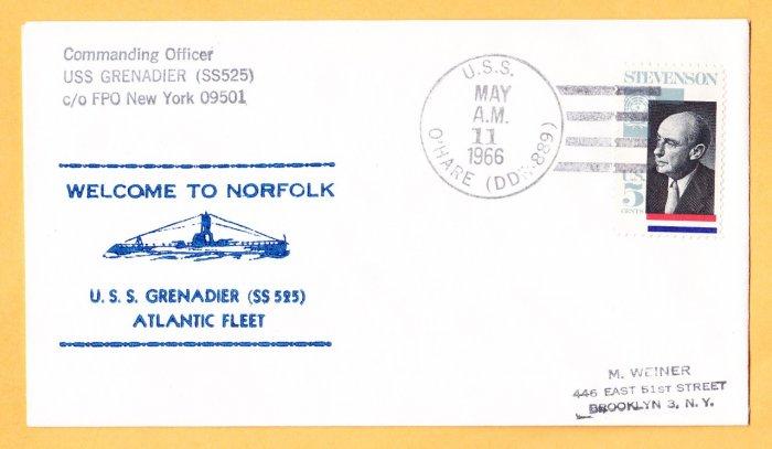 USS GRENADIER SS-525 Welcome To Norfolk Nicholson Naval Submarine Cover