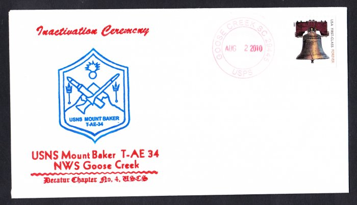 USNS MOUNT BAKER T-AE-34 Inactivation Ceremony Naval Cover