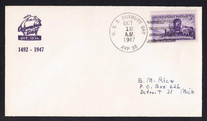 USS DUXBURY BAY AVP-38 Columbus Day 1947 Naval Cover