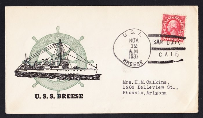 USS BREESE DM-18 Decommissioning 1937 Naval Cover