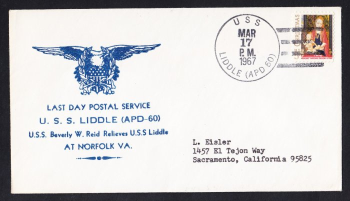 USS LIDDLE APD-60 LDPS Naval Cover