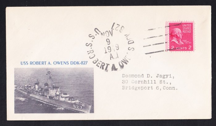 USS OWENS DDK-827 Fancy Cancel 1949 Naval Cover MHcachets ONLY 1 MADE