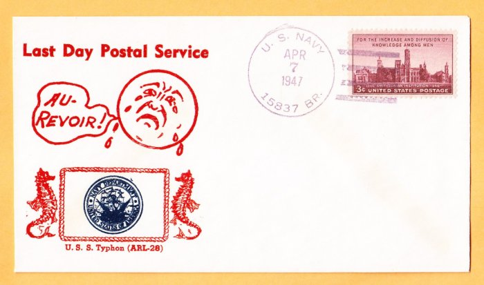 USS TYPHON ARL-28 LDPS Crosby Photo Cachet 1947 Naval Cover