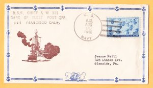 USS CHIEF AM-315 1946 Naval Cover