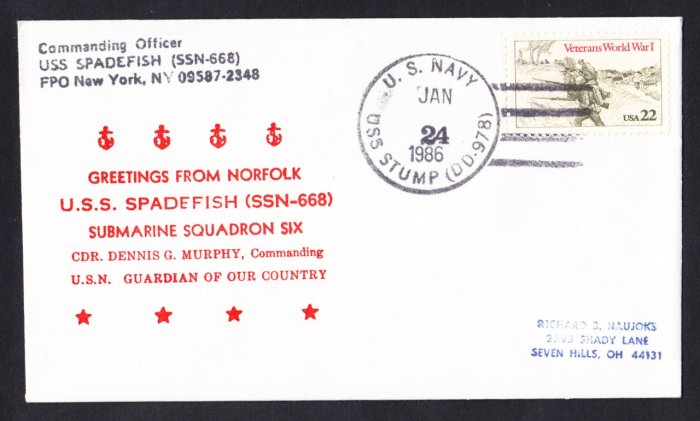 USS SPADEFISH SSN-668 Greetings From Norfolk Naval Submarine Cover