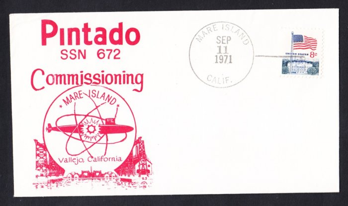 USS PINTADO SSN-672 Commissioning Naval Submarine Cover