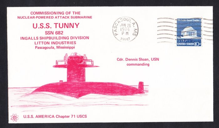 USS TUNNY SSN-682 Commissioning Naval Submarine Cover