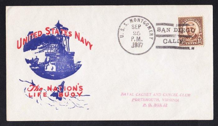 USS MONTGOMERY DM-17 San Diego CA 1937 Naval Cover