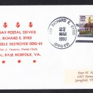 USS RICHARD E. BYRD DDG-23 Last Day Postal Service Naval Cover