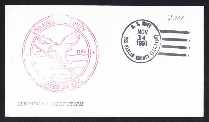 USS HARLAN COUNTY LST-1196 Operation Desert Storm FREE MAIL Naval Cover