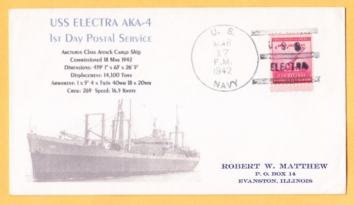 USS ELECTRA AKA-4 FDPS 1942 Naval Cover MHcachets ONLY 1 MADE