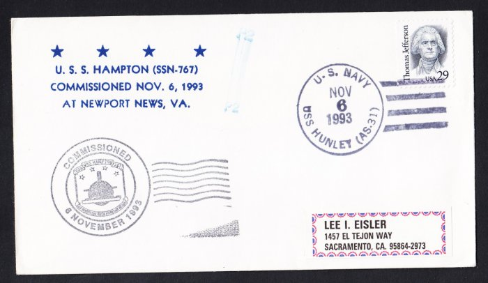 USS HAMPTON SSN-767 Commissioning Naval Submarine Cover
