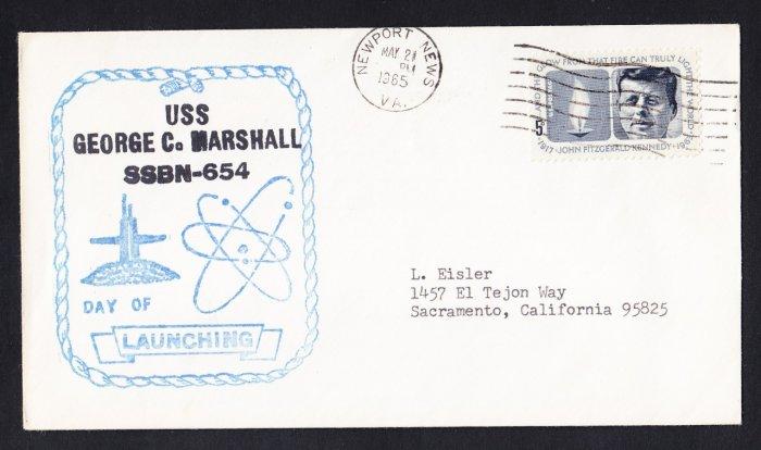 USS GEORGE C. MARSHALL SSBN-654 Launching Naval Submarine Cover