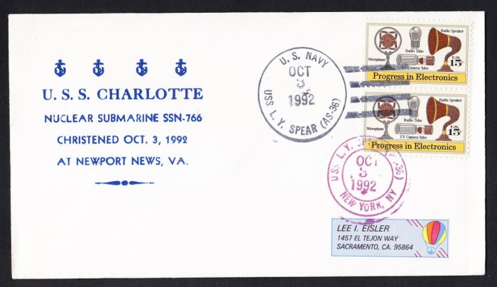 USS CHARLOTTE SSN-766 Launching Naval Submarine Cover