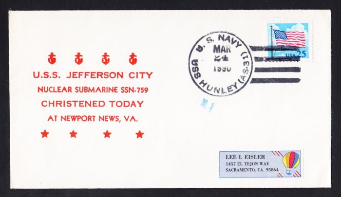 USS JEFFERSON CITY SSN-759 Launching Naval Submarine Cover