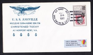 USS ASHEVILLE SSN-758 Launching Naval Submarine Cover