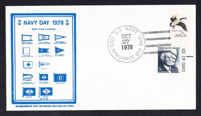 USS SPRUANCE DD-963 Navy Day 1978 Naval Cover