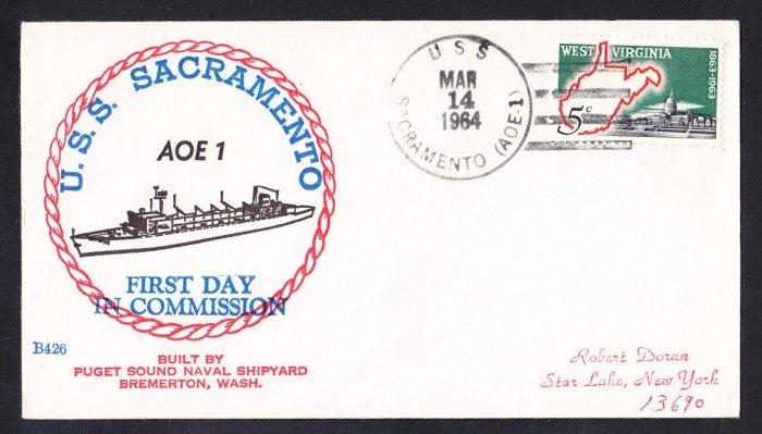 Replenisment Ship USS SACRAMENTO AOE-1 Commissioning BECK #B426 Naval Cover